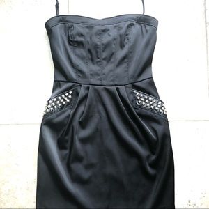 Zio Halter Dress with Studded Faux Leather Pockets